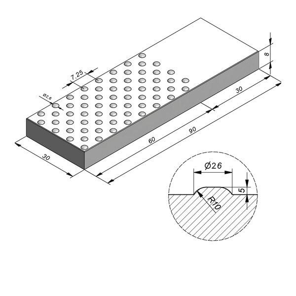 Product image for Dalle de guidage 90x30 cm 2/2 mm Dalle à pastilles avec Pastilles