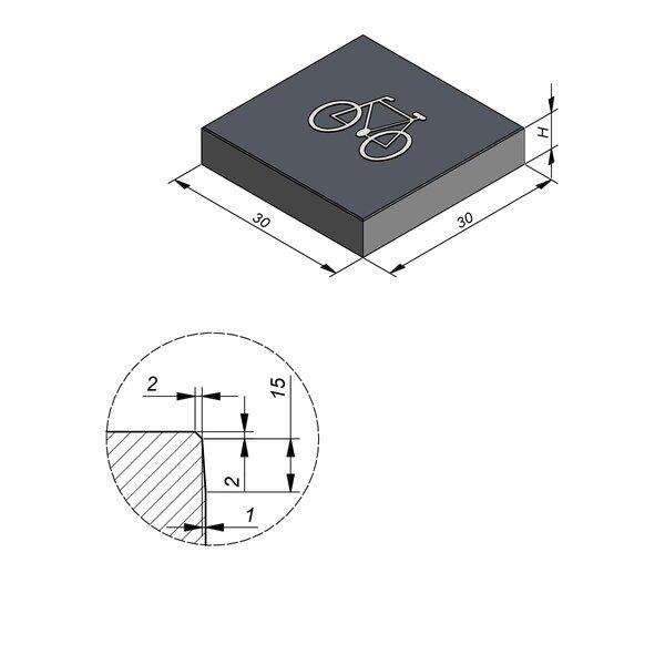Product image for Symbooltegel 30x30 cm 2/2 mm  met Symbool Fiets
