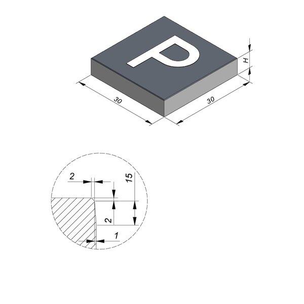 Product image for Symbooltegel 30x30 cm 2/2 mm  met Symbool Parking