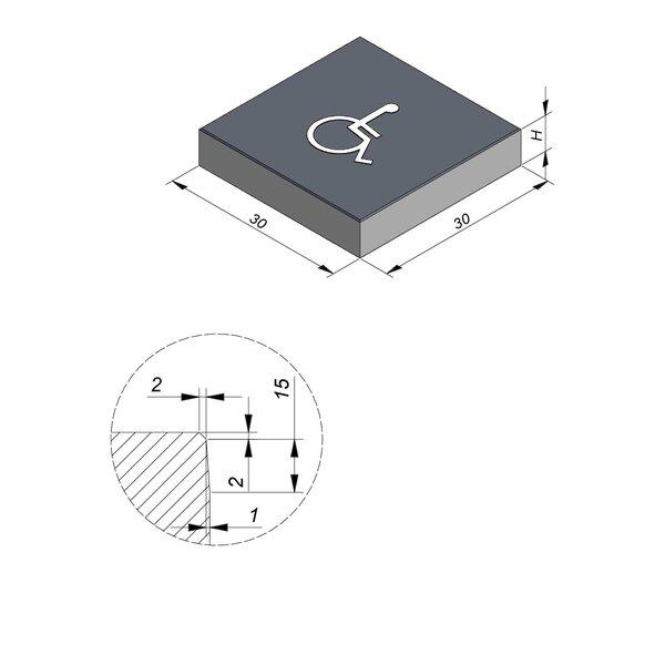 Product image for Symbooltegel 30x30 cm 2/2 mm  met Symbool Rolstoel