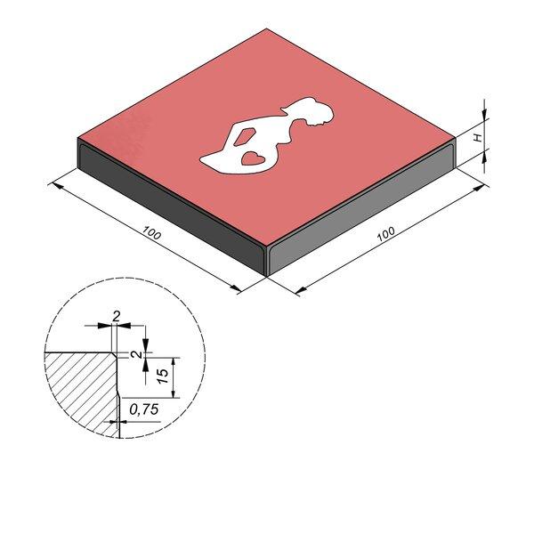 Product image for Symbooltegel 100x100 cm 2/2 mm  met Symbool Zwangere vrouw