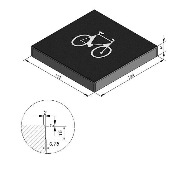 Product image for Symbooltegel 100x100 cm 2/2 mm  met Symbool Fiets