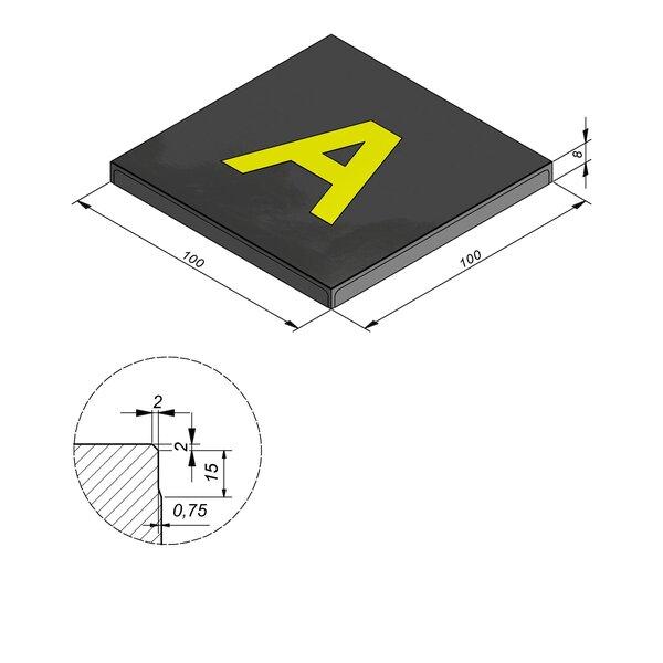 Product image for Symbooltegel 100x100 cm 2/2 mm  met Letter