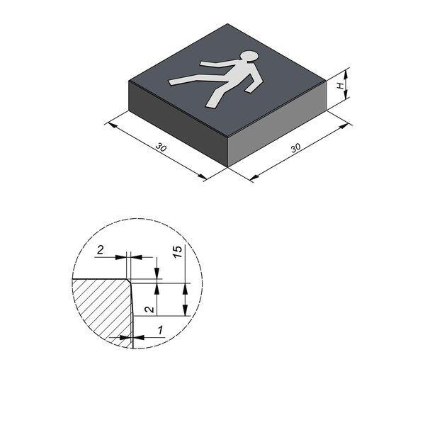 Product image for Symbooltegel 30x30 cm 2/2 mm  met Symbool Voetganger