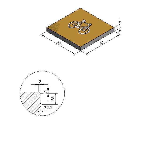 Product image for Symbooltegel 80x80 cm 2/2 mm  met Symbool Fiets