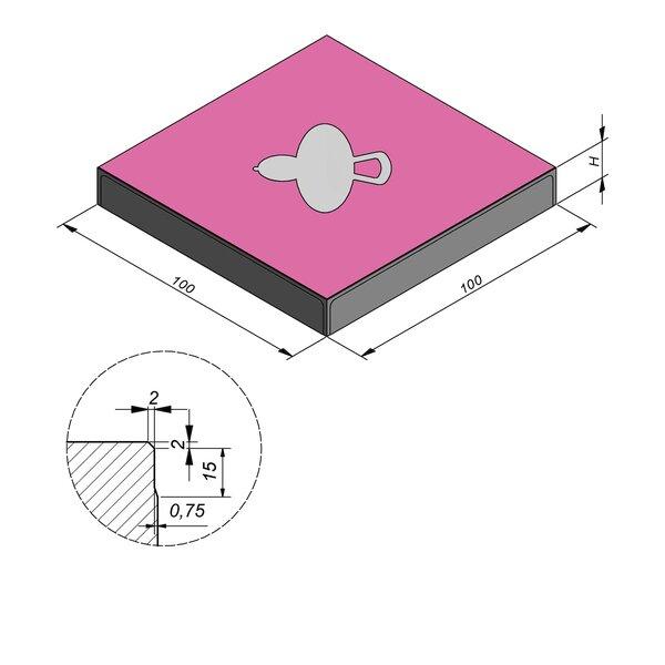Product image for Symbooltegel 100x100 cm 2/2 mm  met Symbool Tutter