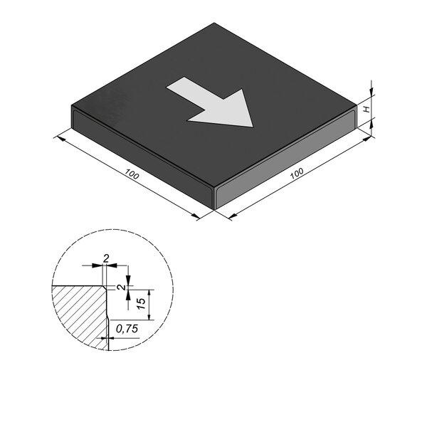 Product image for Symbooltegel 100x100 cm 2/2 mm  met Symbool Pijl