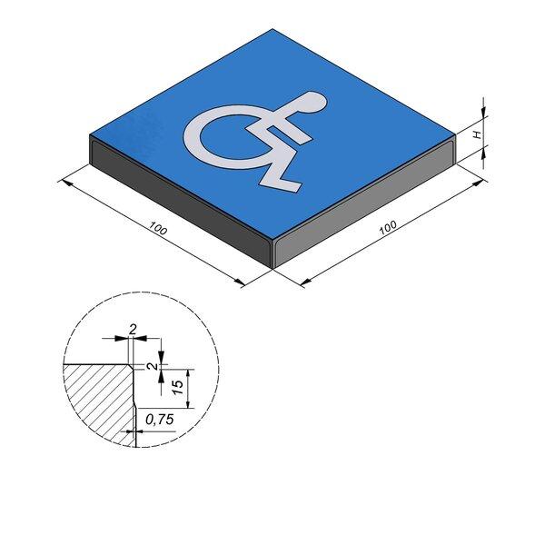 Product image for Symbooltegel 100x100 cm 2/2 mm  met Symbool Rolstoel