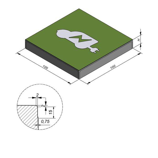 Product image for Symbooltegel 100x100 cm 2/2 mm  met Symbool Auto-oplaadpunt