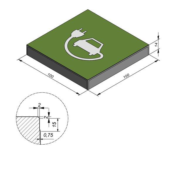Product image for Symbooltegel 100x100 cm 2/2 mm  met Symbool Auto-oplaadkabel