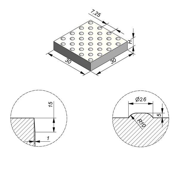 Product image for Dalle de guidage 30x30 cm Plane Dalle à pastilles avec Pastilles