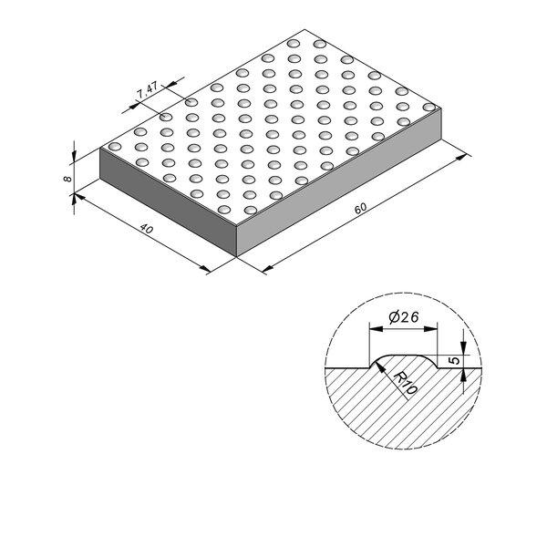 Product image for Dalle de guidage 60x40 cm Plane Dalle à pastilles avec Pastilles