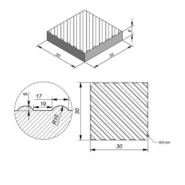 Product image for Dalle de guidage 30x30 cm Plane Dalle de guidage diagonale Striee