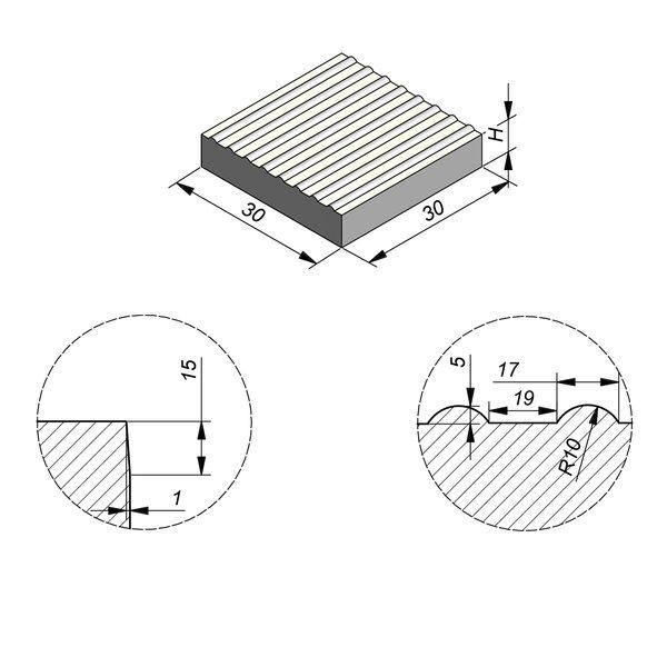 Product image for Dalle de guidage 30x30 cm Plane Dalle de guidage Striee