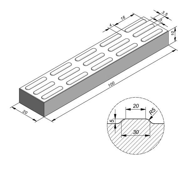 Product image for Dalle de guidage 100x20 cm 2/2 mm Dalle de guidage Striee