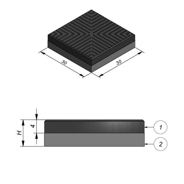 Product image for Dalle de guidage 30x30 cm 2/2 mm Dalle caoutchouc Striee