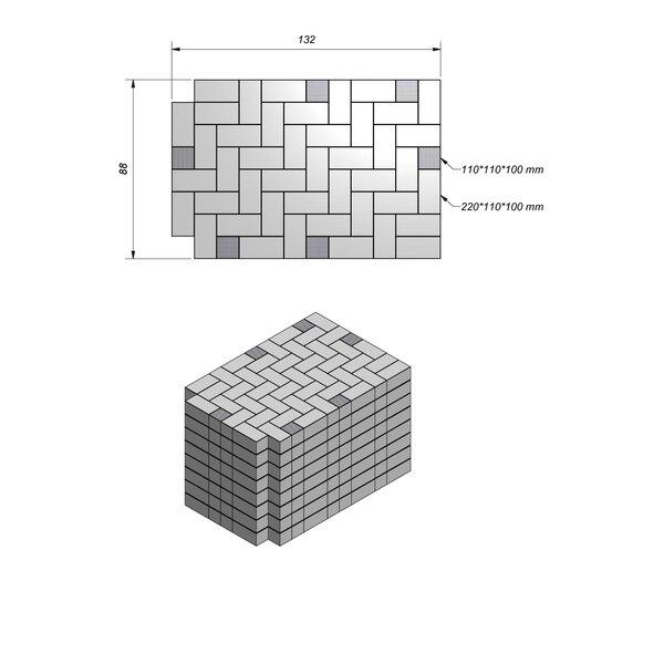 Product image for Betonstraatstenen Belgisch formaat 22x11 cm 2/2 mm Machinaal pakket in elleboogverband