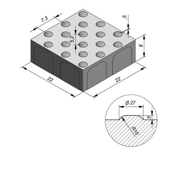 Product image for Pavé de guidage double 22x22 cm 2/2 mm avec Pastilles