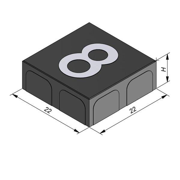 Product image for Betonstraatstenen Belgisch formaat 22x22 cm 2/2 mm met Cijfer
