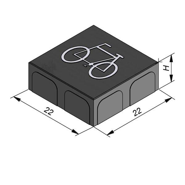 Product image for Betonstraatstenen  Belgisch formaat22x22 cm 2/2 mm met Symbool Fiets