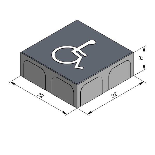 Product image for Betonstraatstenen Belgisch formaat 22x22 cm 2/2 mm met Symbool Rolstoel