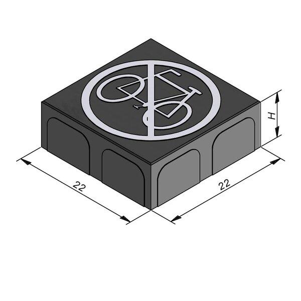 Product image for Betonstraatstenen Belgisch formaat 22x22 cm 2/2 mm met Symbool Fietsverbod