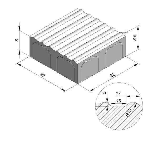 Product image for Pavé de guidage double 22x22 cm 2/2 mm Striee