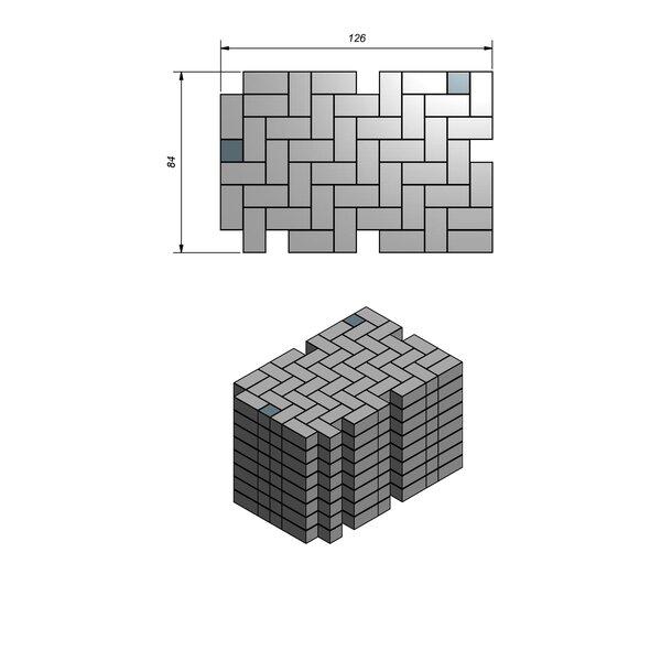 Product image for Betonstraatstenen Nederlands formaat 21x10,5 cm 4/4 mm Machinaal pakket in elleboogverband