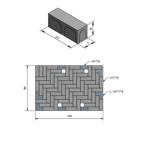 Product image for Betonstraatstenen Nederlands formaat 21x7 cm Vlak Machinaal pakket in elleboogverband
