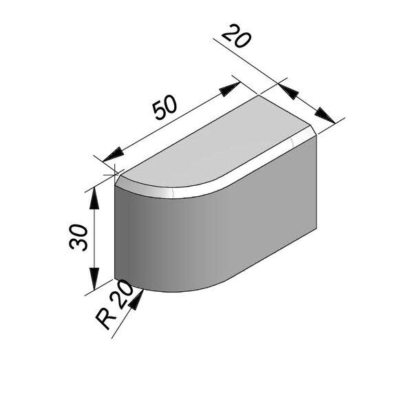 Product image for Boordsteen Bochtstuk 30x20 cm 2/2 cm IB 90° uitwendig R 20 cm links