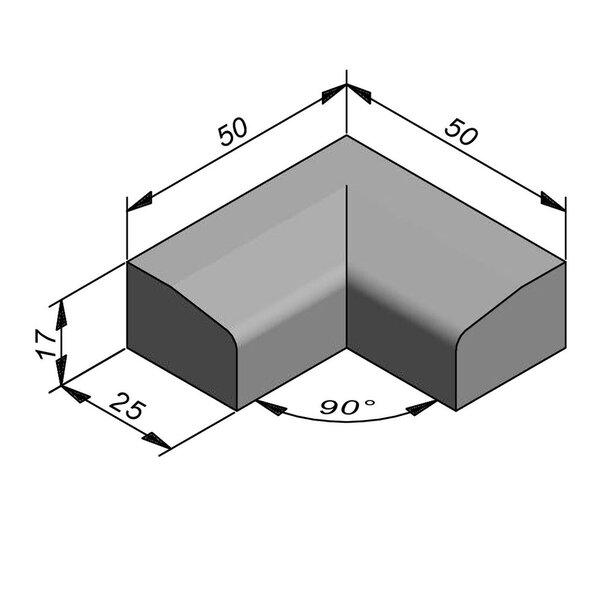 Product image for Boordsteen Hoek 17x25 cm 2,5/15 cm IF2 90° inwendig