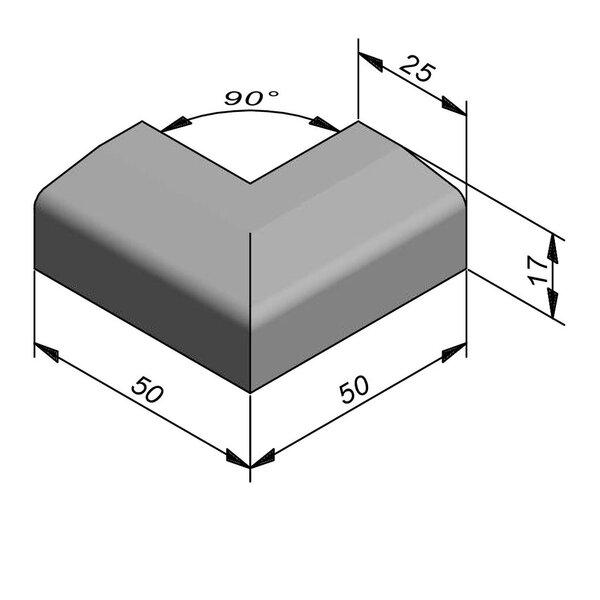 Product image for Boordsteen Hoek 17x25 cm 2,5/15 cm IF2 90° uitwendig