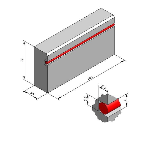 Product image for Bordure réflechissante/led 50x20 2/2 cm avec evidement pour led 3,3x4cm
