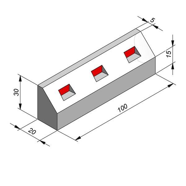 Product image for Bordure réflechissante/led 30x20 15/15 cm avec réflecteur rouge
