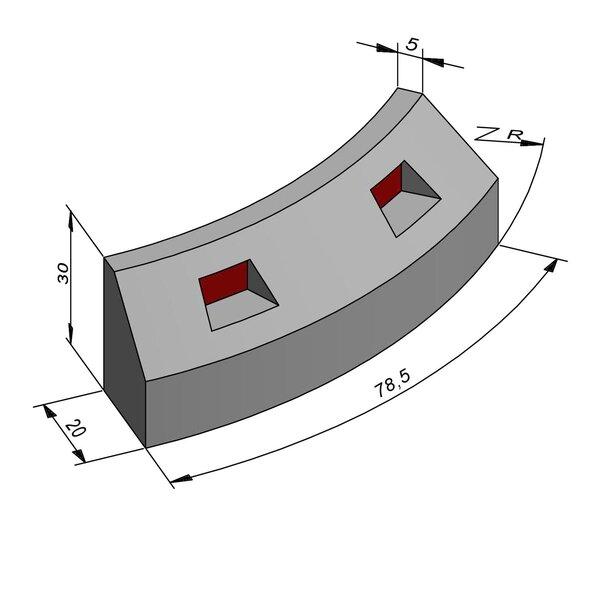 Product image for Bordure réflechissante/led Courbe 30x20 15/15 cm avec réflecteur rouge