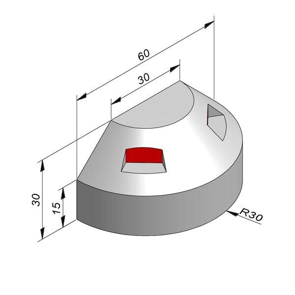 Product image for Bordure réflechissante/led Pièce courbe 30x20 15/15 cm 180° extérieur R 30 cm avec réflecteur rouge