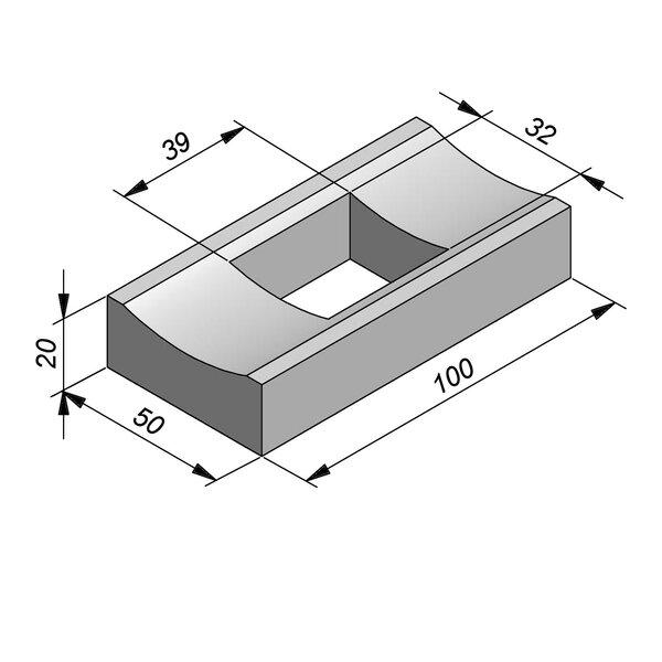 Product image for Watergreppel 20x50 cm IIA2 met uitsparing gat 39x32