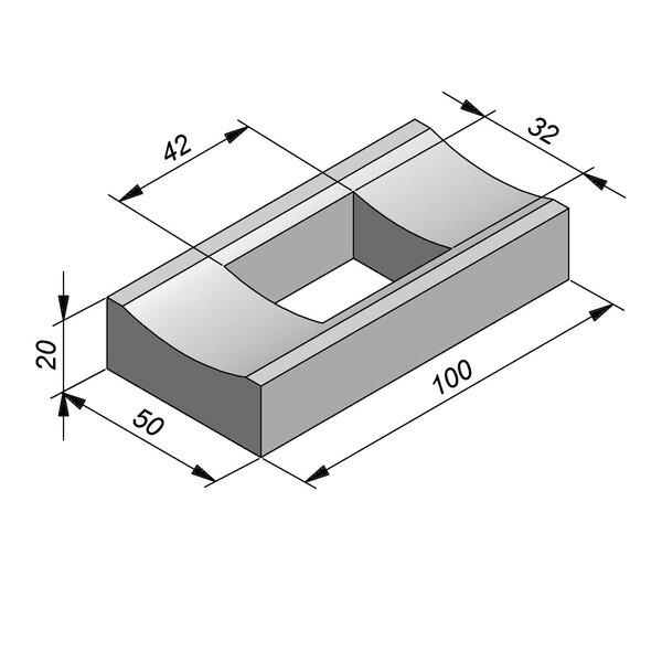Product image for Watergreppel 20x50 cm IIA2 met uitsparing gat 42x32