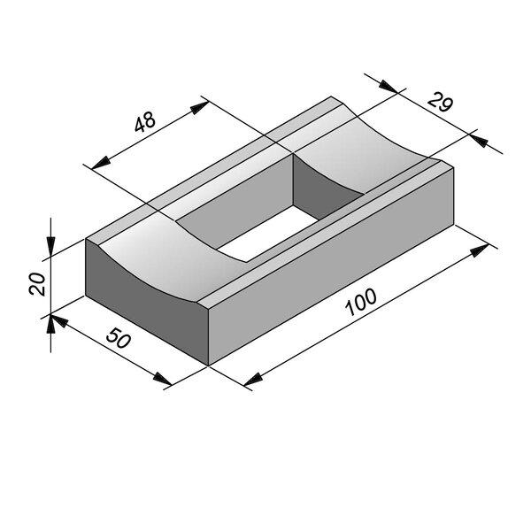 Product image for Watergreppel 20x50 cm IIA2 met uitsparing gat 48x29