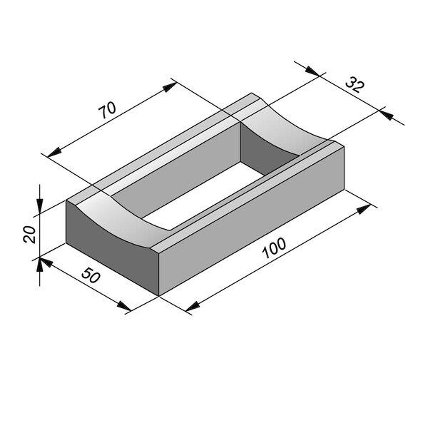 Product image for Watergreppel 20x50 cm IIA2 met uitsparing gat 70x32