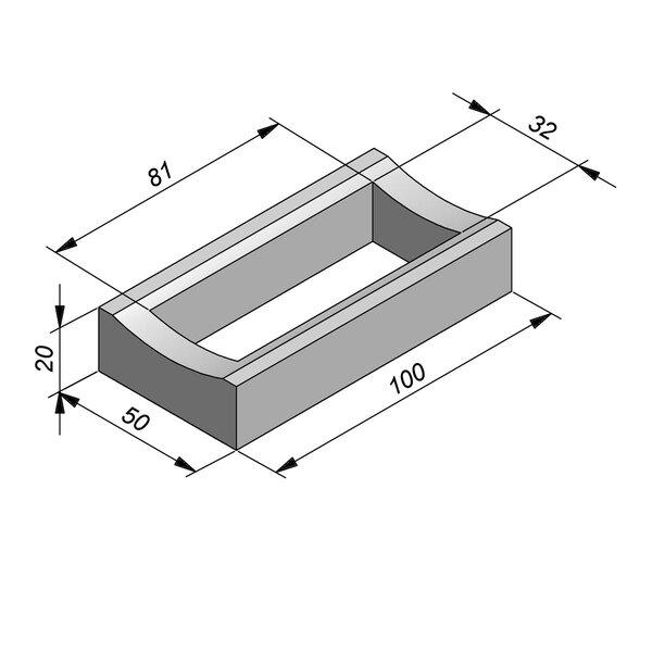 Product image for Watergreppel 20x50 cm IIA2 met uitsparing gat 81x32