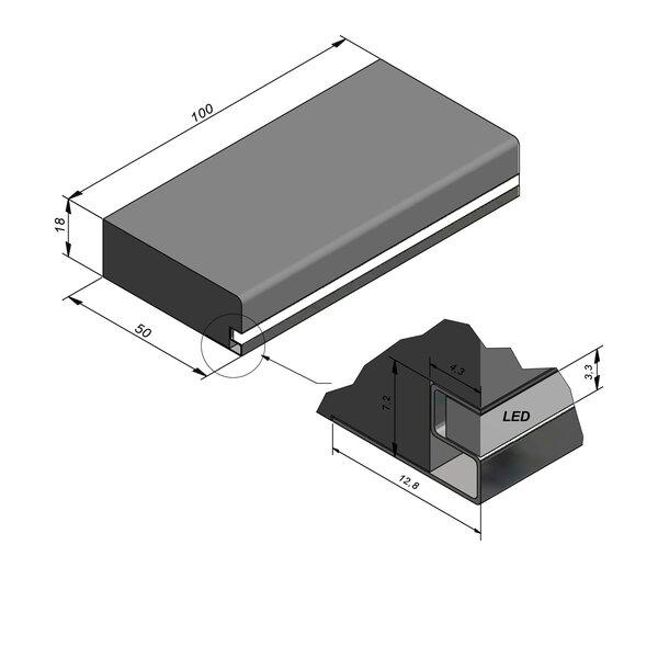 Product image for Mega-escalier 18x50 R2 avec profil led 100cm