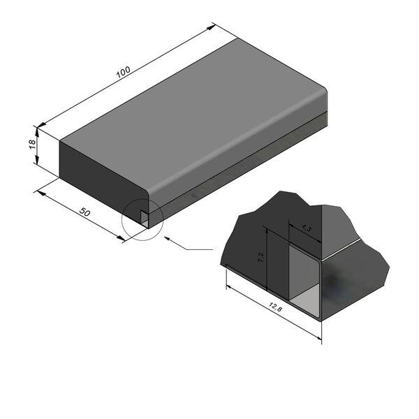 Product image for Mega-escalier 18x50 R2 avec profil de couverture