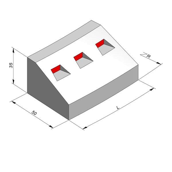 Product image for Bordure réflechissante/led Courbe 35x50 20/40 cm avec réflecteur rouge