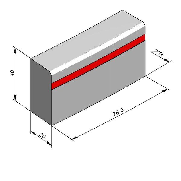 Product image for Bordure réflechissante/led Courbe 40x20 2/2 cm avec bande réfléchissante rouge 4,5cm