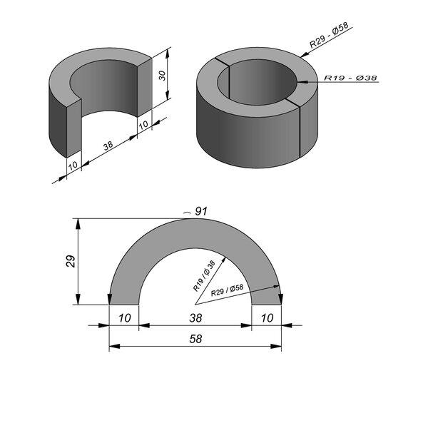 Product image for Bloc de fondation bande pour encadrement arrondie 91x30x10 cm plane Ri=0,19m