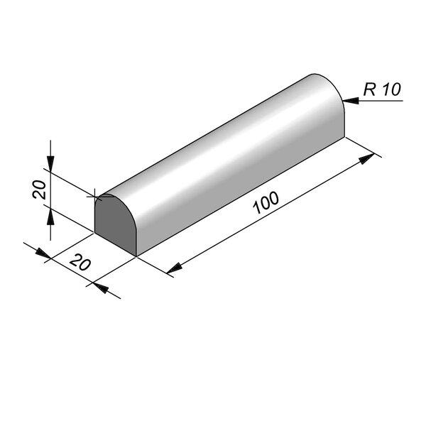 Product image for Bordure de séparation à dos arrondi Bordure convexe 100 cm x 20x20 cm avec 2 bouts planes
