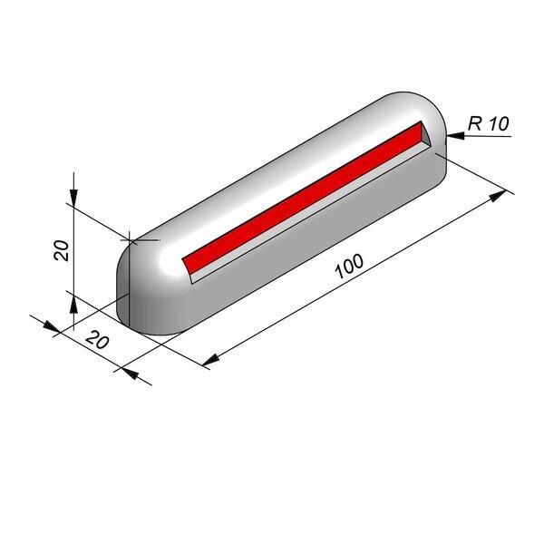Product image for Ronde scheidingsband Biggenrug 100 cm x 20x20 cm met rode reflectorband 4,5cm