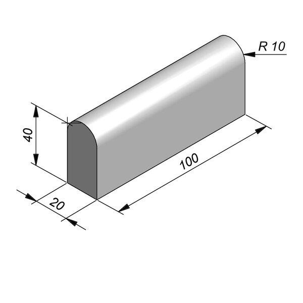 Product image for Bordure de séparation à dos arrondi Bordure convexe 100 cm x 40x20 cm avec 2 bouts planes