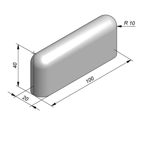 Product image for Bordure de séparation à dos arrondi Bordure convexe 100 cm x 40x20 cm